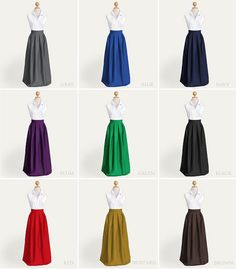 Floor-length pleated skirt with pockets custom size by Ananya