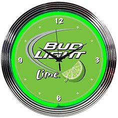 Neonetics Drinks Bud Light Lime Green Neon Wall Clock, 15-Inch - Neonetics Neon Clocks feature a hand blown ring of real glass neon, generating 25 watts of light. The neon clocks have glass faces and feature chrome finished, multi-tiered art deco styles rims. This clock features a chrome rim with a single ring of green neon. The quartz movement clock operates ...