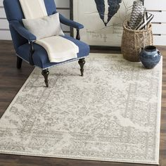 """Amazon.com: Safavieh Adirondack Collection ADR101B Ivory and Silver Oriental Vintage Distressed Area Rug (5'1"""" x 7'6""""): Kitchen & Dining"""