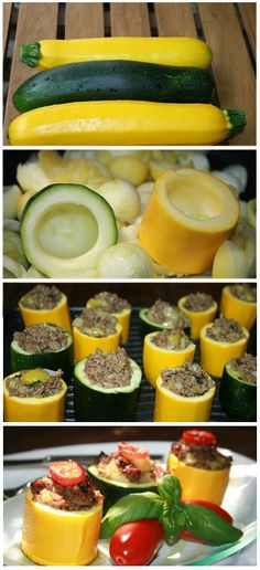 Stuffed Zucchini -  Use ground Turkey or Chicken instead of the pork and beef!**OR**nix the dead animals, and use herbs, spices, quinoa, and/or wild rice, add some wild mushrooms. Mmm-mm!