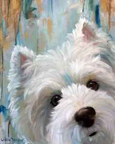"8x10  ""Drip""  (Westie West Highland Terrier)   Print of Original Oil Painting    Add a little Westie Whimsy to your walls!    Printed with"