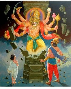 O' Angry and brave Mahā-Viṣṇu, your heat and fire permeate everywhere. O Lord Narasiṁha, you are everywhere. You are the death of death and I surrender to You.