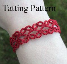 PDF Tatting Pattern Lillian Bracelet , With and Without Beads - Intermediate… Tatting Armband, Bracelet Tatting, Bracelet Crochet, Tatting Jewelry, Lace Jewelry, Tatting Lace, Needle Tatting Patterns, Crochet Patterns, Tatting Tutorial