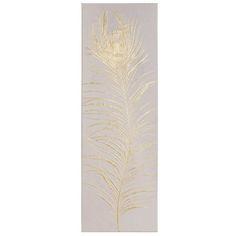 Pfauenfeder-Tuch, grau und goldfarben, 30 x 90