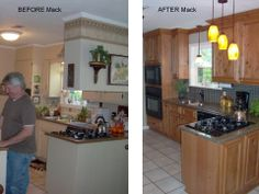 A before and after of a kitchen that Something Southern in Mississippi redid!