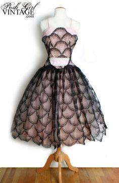 1950's Pink & Black Lace