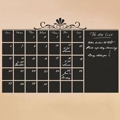 Chalkboard calendar vinyl wall decal sticker Monthly Blackboard with memo area from HouseHoldWords on Etsy. Saved to Decor Ideas. Chalkboard Wall Calendars, Wall Calender, Chalkboard Stickers, Large Chalkboard, Paint Calendar, Office Calendar, Family Calendar, Calendar Design, Chalkboard Paint