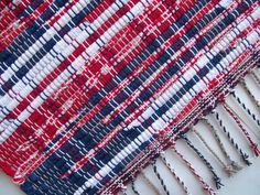 Red White and Blue Rug Rag Rug Loom Woven by GrannysRecycledRags