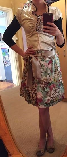 The Girl With Nothing to Wear: Gold blouse, floral skirt, work style, spring style