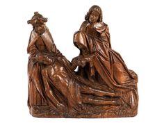 Höhe: 33 cm. Länge 36 cm. Flandern, um 1520. Eichenholz. Jesus im Leinentuch, nach links liegend, der Oberkörper gestützt durch die dahinter stehende Figur...