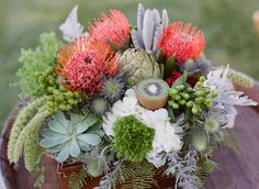 Pincushion Protea, Artichioke, Kiwi (!), Thistle, Lamb's Ear, Hyrandgea, Coffee Berries, Queen Anne's Lace, Fern, Succulents, general-all-around-awesomeness