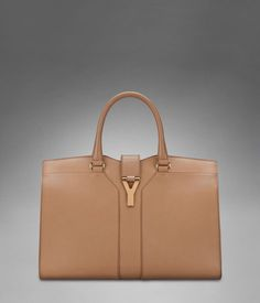 Medium YSL Cabas Chyc in Pale Beige Textured Leather $2195