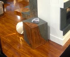 Custom Furniture from Broken Down Designs at the 2014 Interior Design Show in Toronto: Accent table/side table with slate (stone) with iron (metal) inlay Interior Design Shows, Slate Stone, Custom Furniture, Toronto, Iron, House Styles, Metal, Table, Design Ideas
