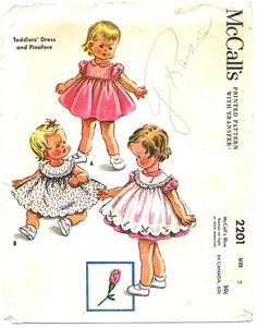 McCall's 2201 Vintage 50s Adorable Toddler Girls Dress & Scalloped Pinafore - Rosebud Embroidery Transfer and Lace Sewing Pattern Size 1/2