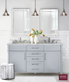 Cool, calm and collected. Our Aberdeen Double Vanity is perfect for that master bath remodel you've been planning. Refresh the look of your bathroom with a bath vanity that has beautiful style and plenty of storage. This double bath vanity features cerami Double Sink Bathroom, Small Bathroom Vanities, Bathroom Vanity Tops, Marble Vanity Tops, Vanity Sink, Bathroom Shelves, Master Bathroom, Marble Top, Bathroom Mirrors