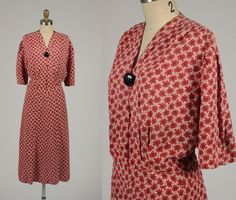 1930s dress/ 30s rayon dress/ xl by shopKLAD on Etsy, $96.00