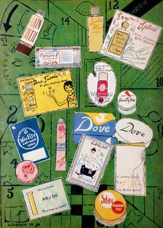 """Harper's Bazaar """"Beauty Box"""" Contents Illustrated by Andy Warhol, July 1958"""