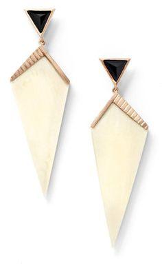 26c73ac2296d9 MONIQUE PÉAN K  Monique Pean  Fossilized Woolly Mammoth and Black Spinel  Earrings - ShopStyle Women