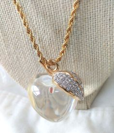 Kenneth Jay Lane KJL Rare Clear Lucite Apple Pendant Swarovski Crystals Couture   Jewelry & Watches, Vintage & Antique Jewelry, Costume   eBay!