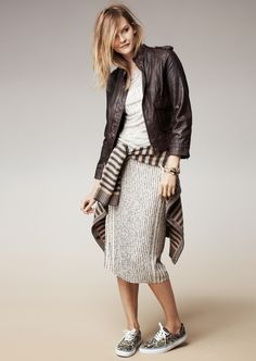 Madewell modern leather bomber, coffeeshop cardigan and the sequin line skirt.