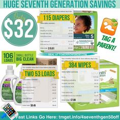 HURRY  OFFER IS BACK!!! Here is your chance to try Amazon Mom membership FREE for 30 days and save huge on Seventh Generation items. I grabbed . 115 (sz 5) Seventh Generation diapers .  (2) 4x Lavender Seventh Generation (106 loads) Laundry detergent . .  and 384 Seventh Generation baby wipes for get this under $32 SHIPPED!! Follow the easy instructions below and get yours now! . . Read more details and Instructions at:  http://tmget.info/4seventhgen50off	 follow the link in my Bio…