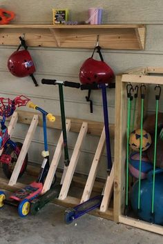 Garage Organization and Bike Rack Organize the toys with designating a place for bikes balls helmets and other outdoor things. The post Garage Organization and Bike Rack appeared first on Outdoor Ideas.