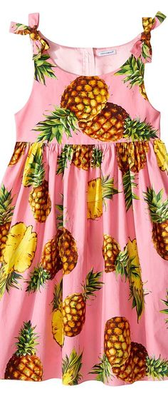 Dolce & Gabbana Kids Tropical City Poplin Dress (Big Kids) (Pineapple Print) Girl's Dress - Dolce & Gabbana Kids, Tropical City Poplin Dress (Big Kids), L57D31FS53V-HF716, Apparel Top Dress, Dress, Top, Apparel, Clothes Clothing, Gift - Outfit Ideas And Street Style 2017