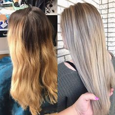 Before and After; grown out Balayage to a seamless blend! * * * #abeautifulmess #ashyblonde #fallhair #whiteblonde #blonde #blondehair…