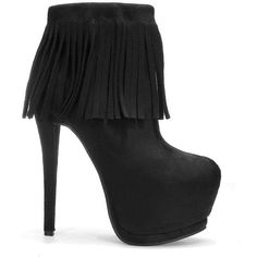 Yoins Tassel High Heels ($52) ❤ liked on Polyvore featuring shoes, boots, ankle booties, heels, black, high heel booties, black heeled booties, side zip boots, high heel ankle booties and high heel boots