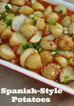Tender, crisp-skin Potatoes in a delicious, thick Tomato Sauce to serve as a side dish to just about any main meal