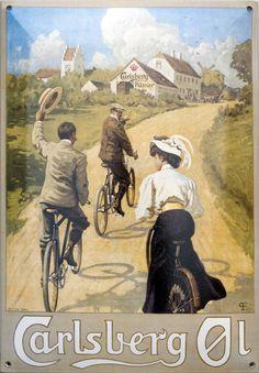 Paul Fischer 1908 Cyklister på landevejen Plakat Carlsberg A/S Beer Advertisement, Retro Advertising, Vintage Advertisements, Vintage Ads, Old Posters, Travel Posters, Vintage Posters, Capital Of Denmark, Light Bulb Art