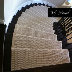 <Stairs don& have to be boring. Custom herringbone carpet runner on hardwood. Stairs don& have to be boring. Custom herringbone carpet runner on hardwood stairs. Carpet from Tuftex. Painted Staircases, Curved Staircase, Painted Stairs, Staircase Design, Staircase Diy, Stair Banister, Stair Rods, Bannister, Staircase Carpet Runner