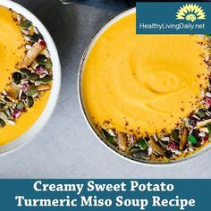 Creamy Sweet Potato Turmeric Miso Soup Recipe   This delicious turmeric soup is filled with health benefits and perfect for a cold day. Read this article to find out how to prepare it. Click the link in our bio to find out more  #turmeric #turmericmisosoup #turmericrecipe #misosoup #turmericmisosouprecipe #turmericbenefits #turmericlover #healthyfood #healthyrecipe #healhtyturmericrecipe #healthylivingdaily #followme #follow