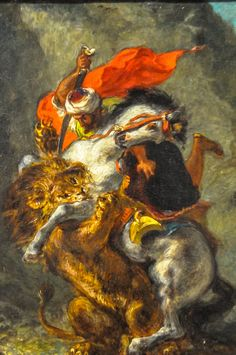 All sizes | Eugene Delacroix - Arab Horseman Attached by Lion, 1850 at Art Institute of Chicago IL | Flickr - Photo Sharing!
