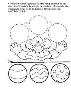 Printable worksheets for kids Geometric Shapes 17 Preschool Circus, Circus Activities, Printable Activities For Kids, Preschool Worksheets, Printable Worksheets, Clown Crafts, Circus Crafts, Carnival Crafts, Circus Theme