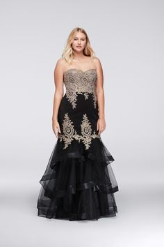 c32600b49f583 Bring the glitz and glamour to your big night by slipping into this boldly  embroidered sweetheart plus size gown. The tiered tulle mermaid skirt  provides a ...