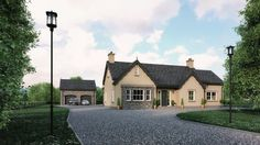 traditional cottage outside Dunloy Ballymena by slemish design studio architects. dwelling on a farm residential specialists throughout NI & RoI & UK Modern Bungalow Exterior, Bungalow House Design, Dream House Exterior, Dream House Plans, Cottage Design, Bungalow Ideas, House Designs Ireland, Self Build Houses, Bungalow Renovation