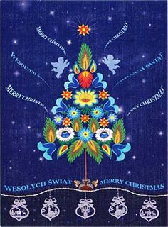 Polish Folk Christmas Card - Angels On High