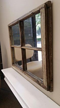 White Window Pane Mirror WindowMirror. Old by TheDecorativeCompany www.etsy.com/shopthedecorativecompany www.thedecorativecompany.com #WindowMirror #Wallmirror #MantelMirror