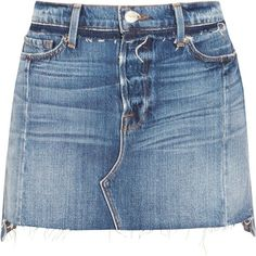 FRAME Nouveau Le Mini Mix distressed denim skirt (£350) ❤ liked on Polyvore featuring skirts, mini skirts, distressed denim mini skirt, blue mini skirt, mini skirt, blue skirt and distressed denim skirt