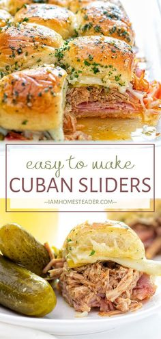 Cuban Sliders make a great crowd-pleasing holiday appetizer! This filling and sa. Cuban Sliders make a great crowd-pleasing holiday appetizer! This filling and satisfying finger foo Finger Food Appetizers, Holiday Appetizers, Appetizer Recipes, Dinner Recipes, Cuban Appetizers, Easy Finger Food, Finger Food Recipes, Easy Party Appetizers, Sandwich Appetizers