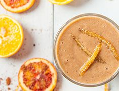The beauty of this chocolate orange smoothie is in its simplicity - only and orange, Vega Performance Protein, and water.