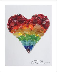 Amazon.com: LOVE - Rainbow Sea Glass Heart Poster Print. 11x14 Great for…