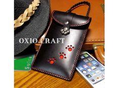 iPhone5・6■スマートフォンケース■肉球■黒革■ロープ