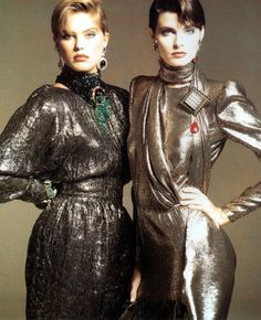 Renee Simonsen and Joan Severance for Valentino, photographed by Renato Grignaschi for Vogue, 1983