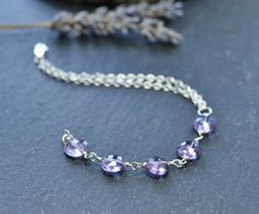 Amethyst and sterling silver bracelet - February Birthstone £23.00