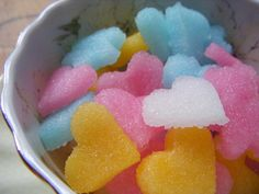 Novelty sugar cubes you can make and cut out. So simple for tea parties for little girls.