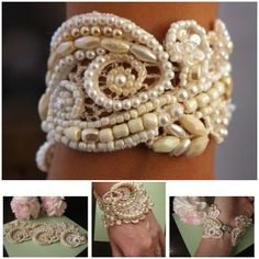 DIY Lace and Pearls Cuff Tutorial from French Wedding Style. This is a BUY or DIY post. The author dyed the lace to match her wedding gown. There is some hand sewing involved, but other beads and gemstones are glued. Top Photo: $95 Gorgeous VIntage Lace Bridal Cuff from the Etsy store of Carellya here. Bottom Photos: DIY by French Wedding Style.