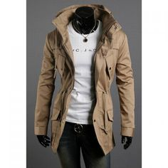 Fashion Style Hooded Pockets Embellished Long Sleeves Polyester Jacket For Men