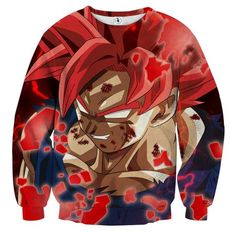 DBZ Son Goku Super Saiyan Red Hair God Dope Style Sweatshirt    #DBZ #SonGoku #SuperSaiyan #RedHair #God #DopeStyle #Sweatshirt